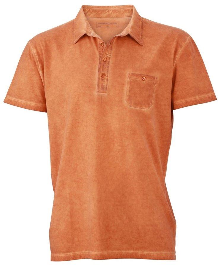 Oranžová pánská polokošile s krátkým rukávem James & Nicholson - velikost S