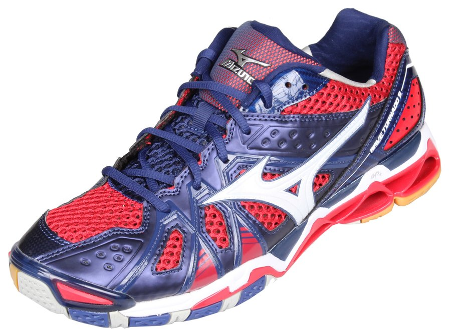 Červeno-modré pánské boty na volejbal Wave Tornado 9, Mizuno - velikost 46 EU
