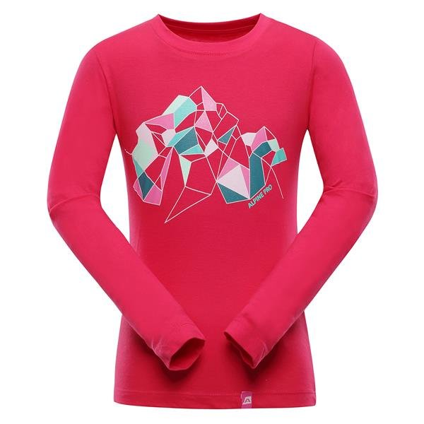 Růžové turistické tričko s dlouhým rukávem Alpine Pro - velikost 164-170
