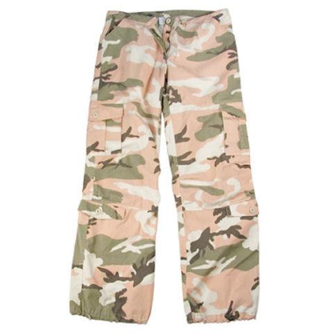 Kalhoty - Kalhoty dámské VINTAGE PINK CAMO