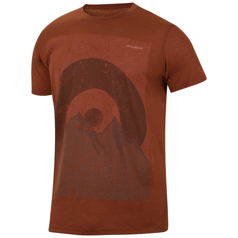 Hnědé pánské tričko s krátkým rukávem Husky - velikost L