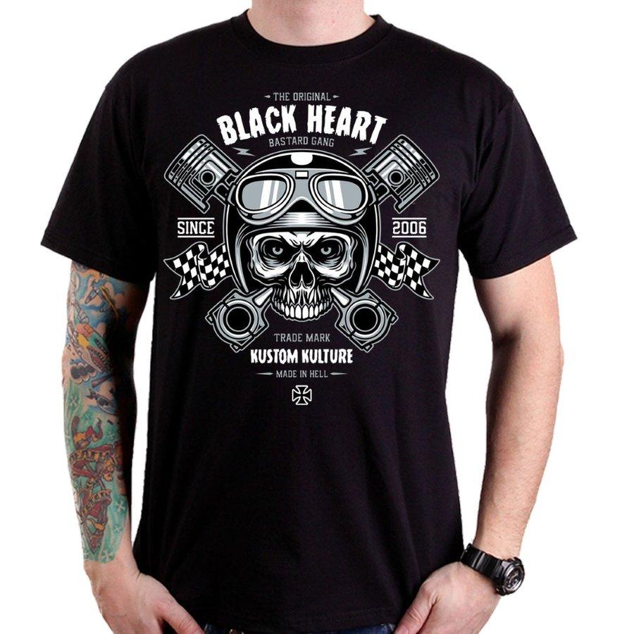Černé motorkářské tričko Piston Skull, Blackheart