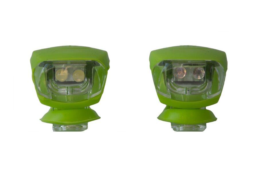 Světlo na kolo - Blikačka silikonová MAXBIKE sada - zelená