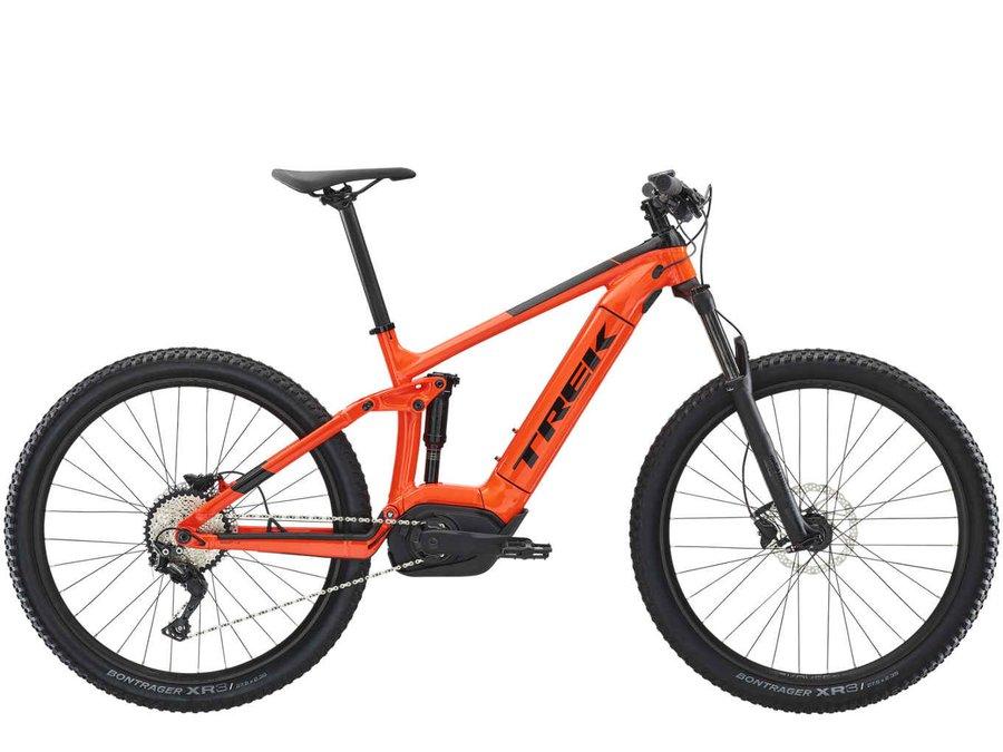 Oranžové celoodpružené horské pánské elektrokolo Powerfly FS 5, Trek