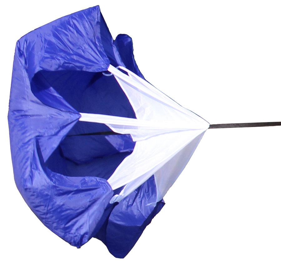 Modrý tréninkový brzdící padák Merco - průměr 140 cm