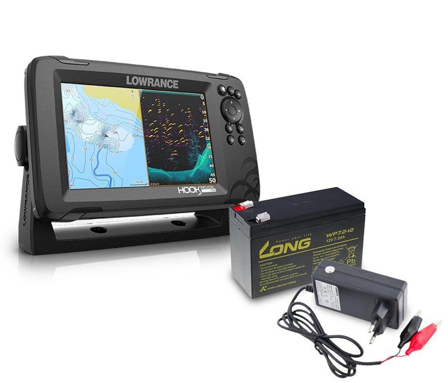 Echolot - Lowrance Echolot Hook Reveal 7 se Sondou HDI 83/200khz + baterie + nabíječka ZDARMA