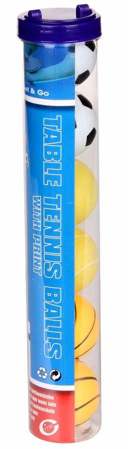 Míček na stolní fotbal - míčky na stolní tenis sada 6 ks, s potiskem balení: 1 sada