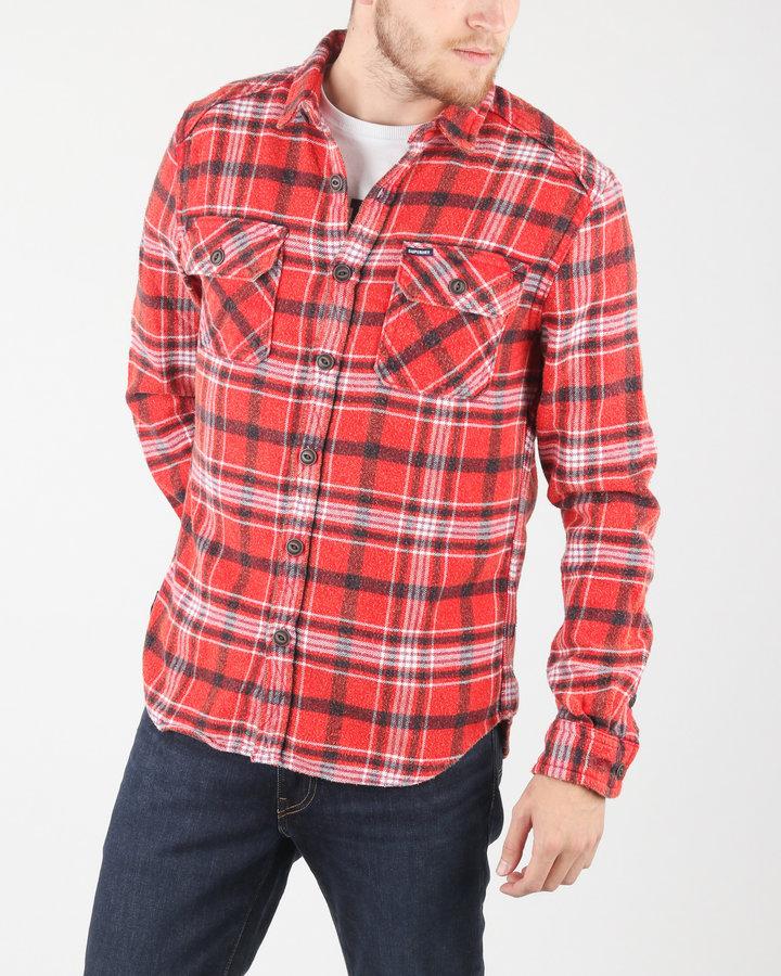 Červená pánská košile s dlouhým rukávem SuperDry - velikost L