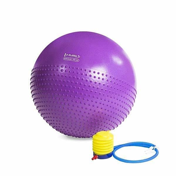 Fialový gymnastický míč s pumpou HMS - průměr 55  cm