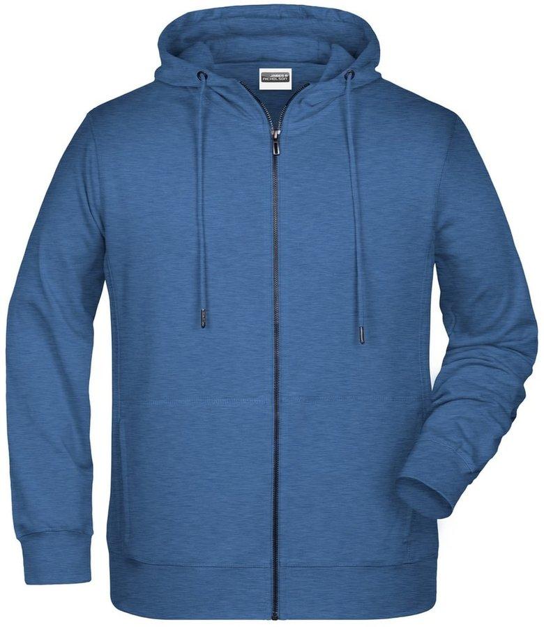 Modrá pánská mikina s kapucí James & Nicholson - velikost XL