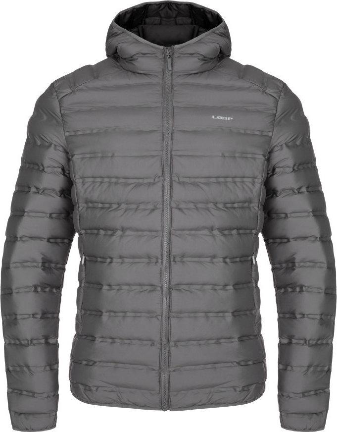 Šedá zimní pánská bunda s kapucí Loap - velikost 3XL