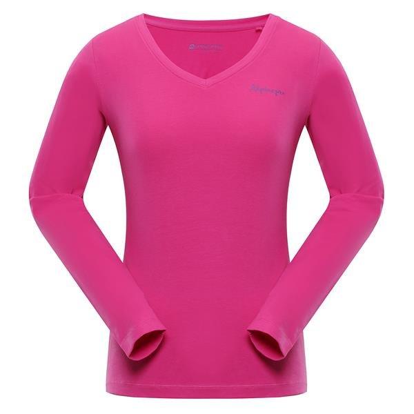 Růžové dámské tričko s dlouhým rukávem Alpine Pro