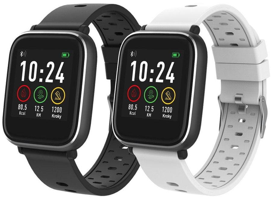 Bílo-černé digitální sportovní chytré hodinky iGET