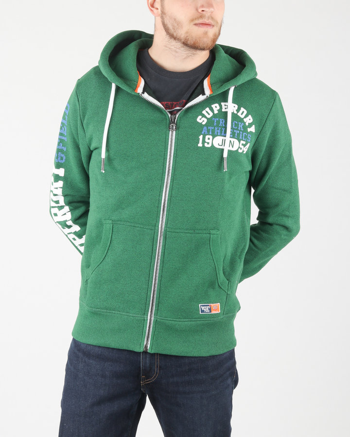 Zelená pánská mikina s kapucí SuperDry