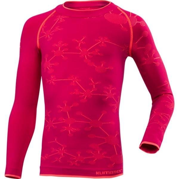 Růžové dívčí funkční tričko s dlouhým rukávem Klimatex