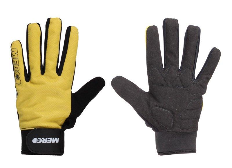 Žluté zimní unisex cyklistické rukavice Merco - velikost XL