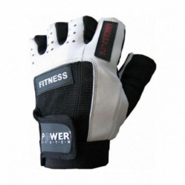 Bílo-černé pánské fitness rukavice Power System