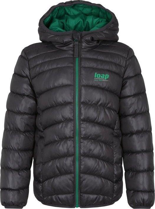 Šedá dětská zimní bunda s kapucí Loap - velikost 134-140