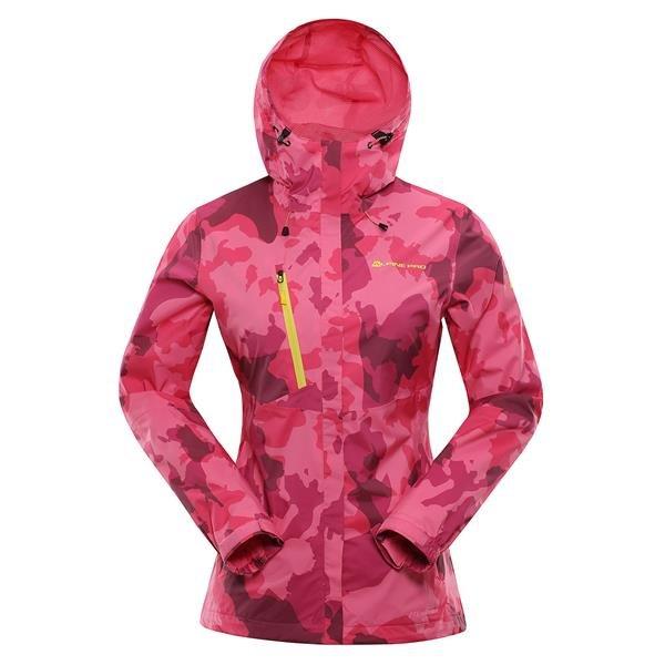 Růžová nepromokavá dámská bunda s kapucí Alpine Pro - velikost S