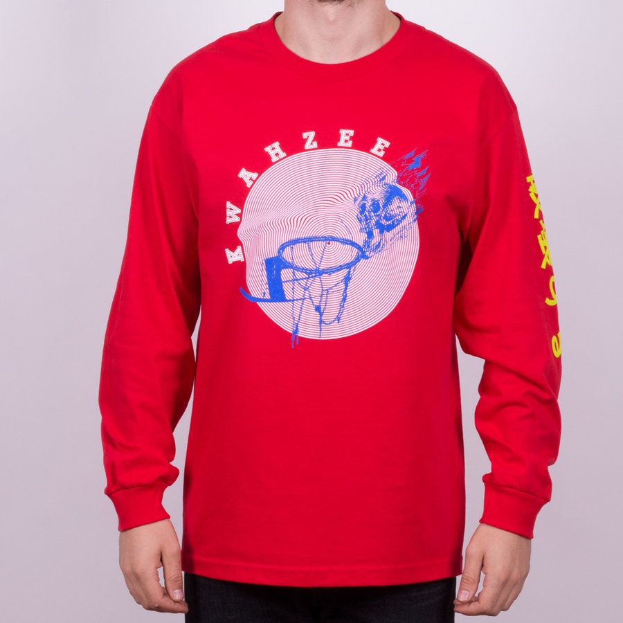Červené pánské tričko s dlouhým rukávem s potiskem Skynet Longlseeve Tee, Quasi