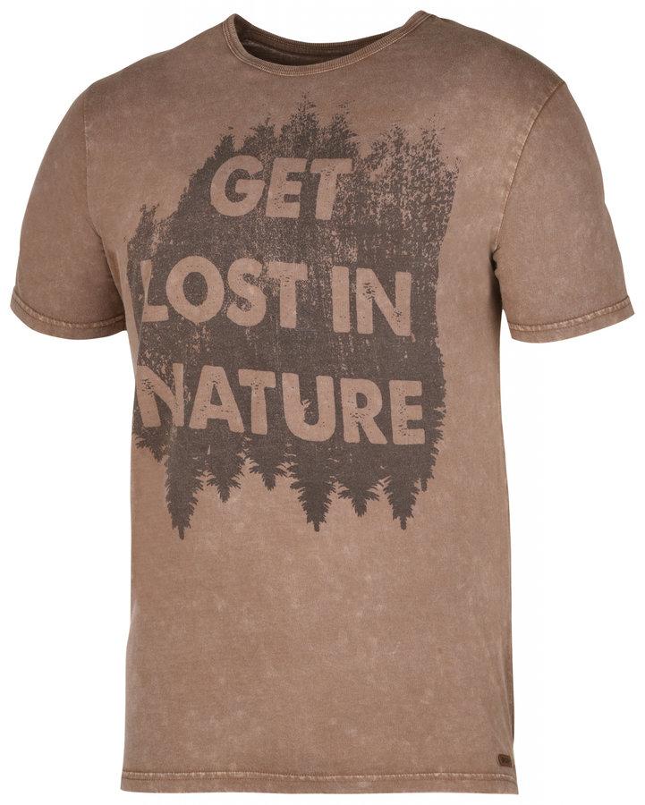 Hnědé pánské tričko s krátkým rukávem Husky