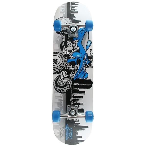 Bílo-modrý skateboard Nils Extreme - nosnost 100 kg