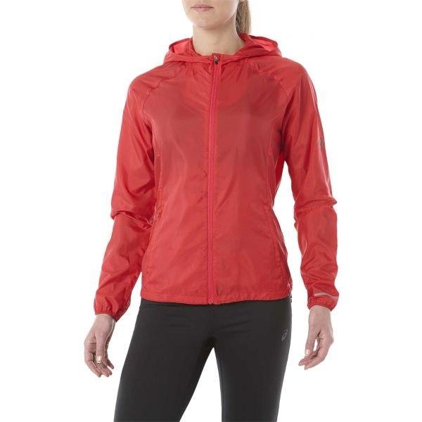 Červená dámská běžecká bunda s kapucí Asics
