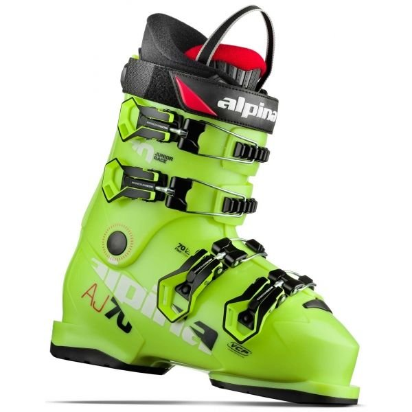Žluté nebo šedo-žluté dětské lyžařské boty Alpina