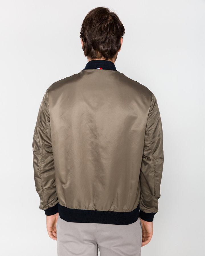 Hnědo-modrá pánská bunda Tommy Hilfiger - velikost XXL