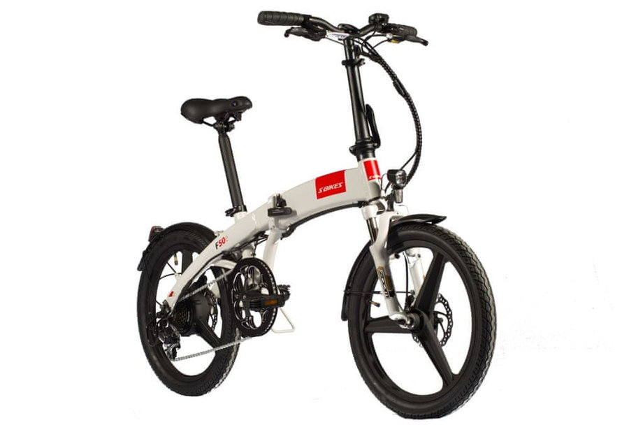 Bílé městské elektrokolo F50e, S-bikes