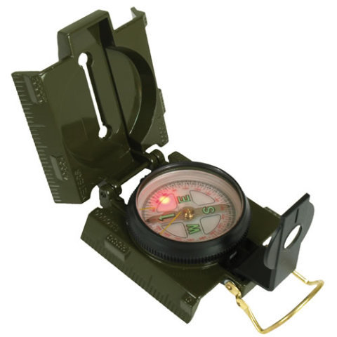 Kompas - Kompas US kovové tělo a LED osvětlení ZELENÝ