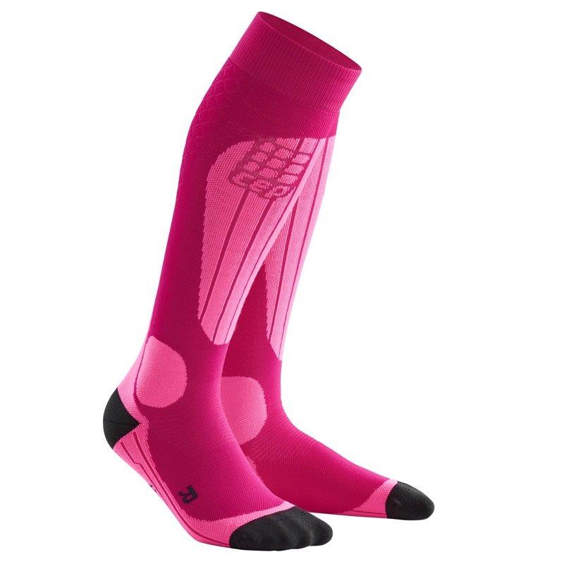 Růžové lyžařské dámské podkolenky