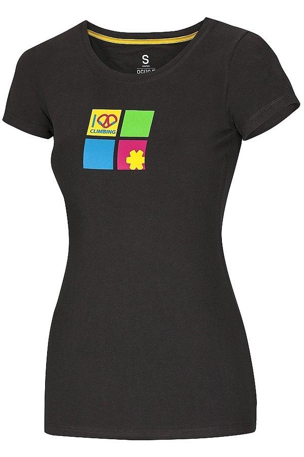 Černé dámské turistické tričko s krátkým rukávem Ocún - velikost S