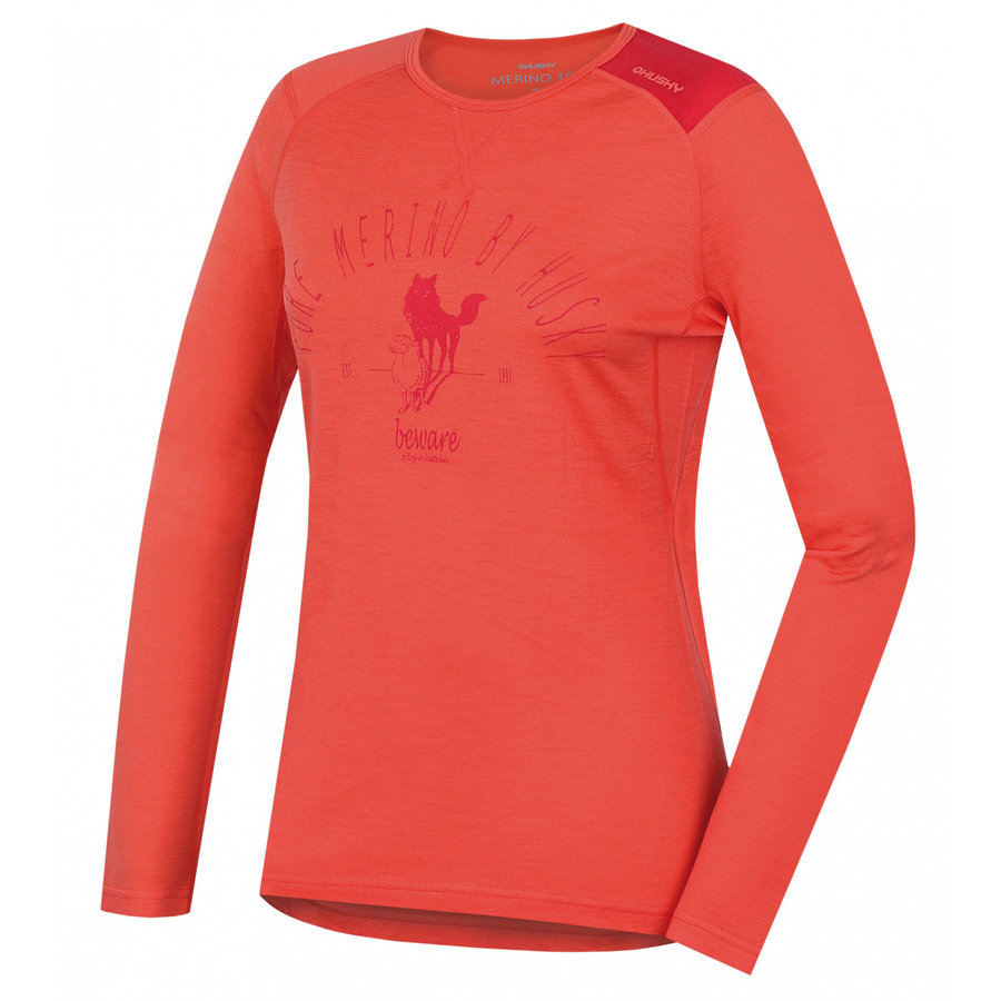 Růžové dámské funkční tričko s dlouhým rukávem Husky