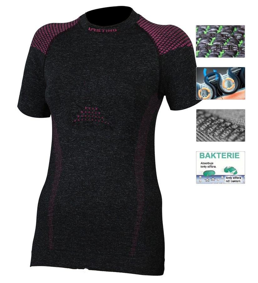 Šedé termo dámské termo tričko s krátkým rukávem Lasting