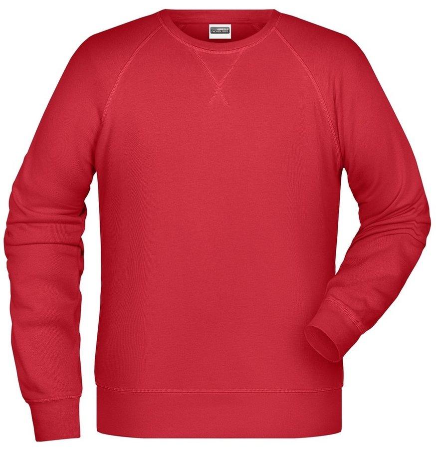 Červená pánská mikina bez kapuce James & Nicholson - velikost XL
