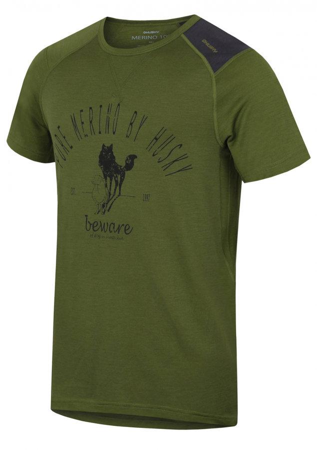 Zelené pánské termo tričko s krátkým rukávem Husky