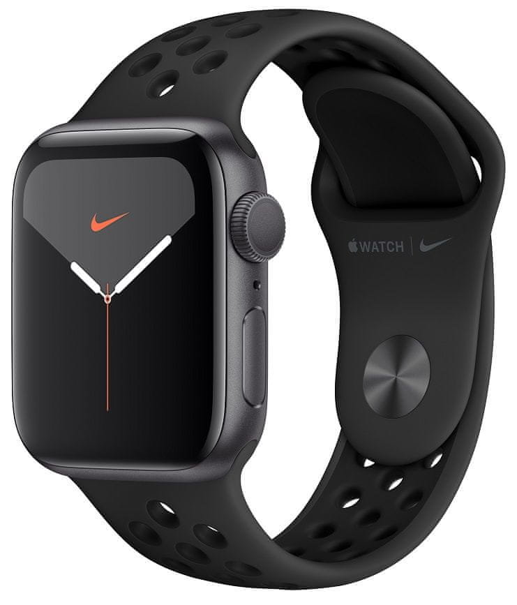 Šedé analogové chytré hodinky Watch Nike Series 5 GPS, Apple