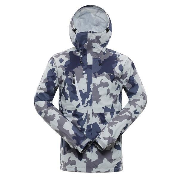 Bílo-šedá nepromokavá pánská bunda s kapucí Alpine Pro - velikost 3XL
