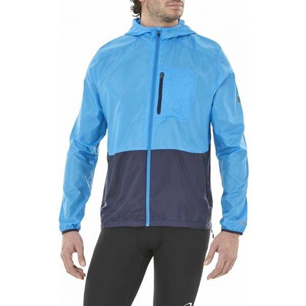 Modrá pánská běžecká bunda s kapucí Asics