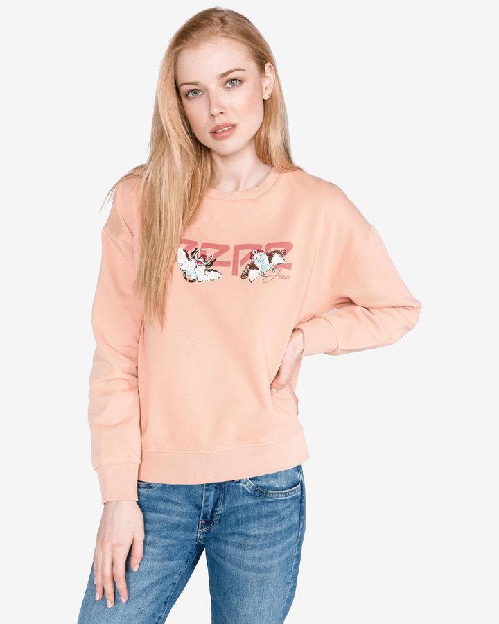 Oranžová dámská mikina bez kapuce Pepe Jeans - velikost XL