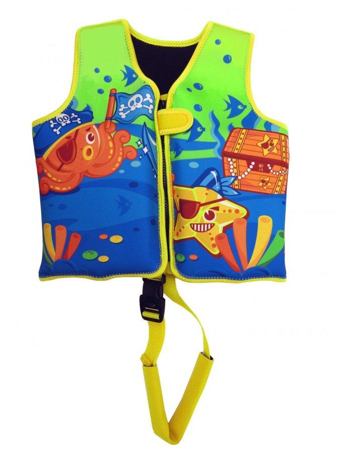 Modro-zelená dětská nafukovací plavecká vesta Neo Splash - velikost 1-3 roky