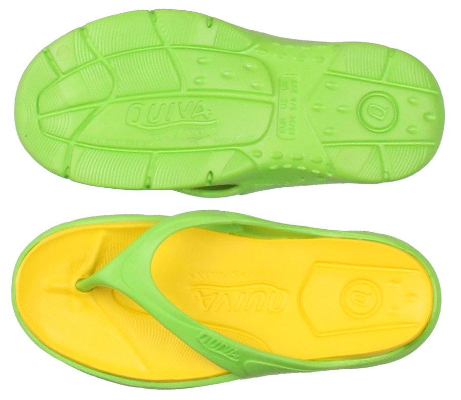 Zeleno-žluté žabky Quiva - velikost 35,5 EU