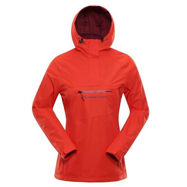 Oranžová nepromokavá dámská bunda s kapucí Alpine Pro