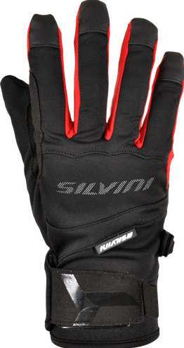 Černo-červené zimní dámské běžecké rukavice Silvini - velikost 3XL