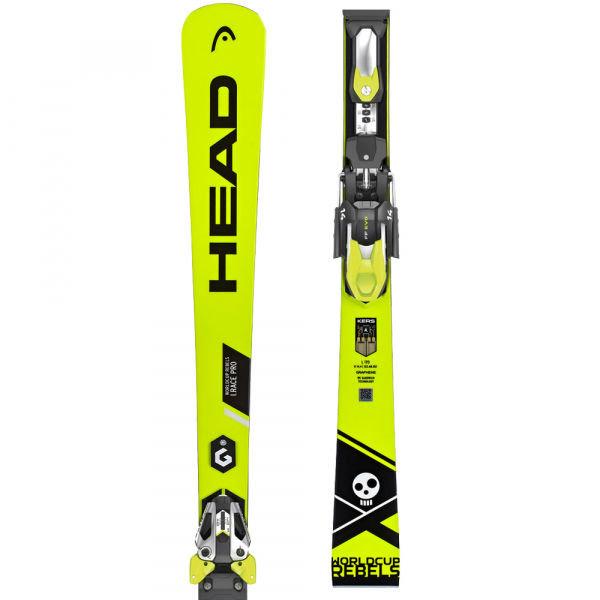 Zeleno-žluté lyže s vázáním Head - délka 160 cm