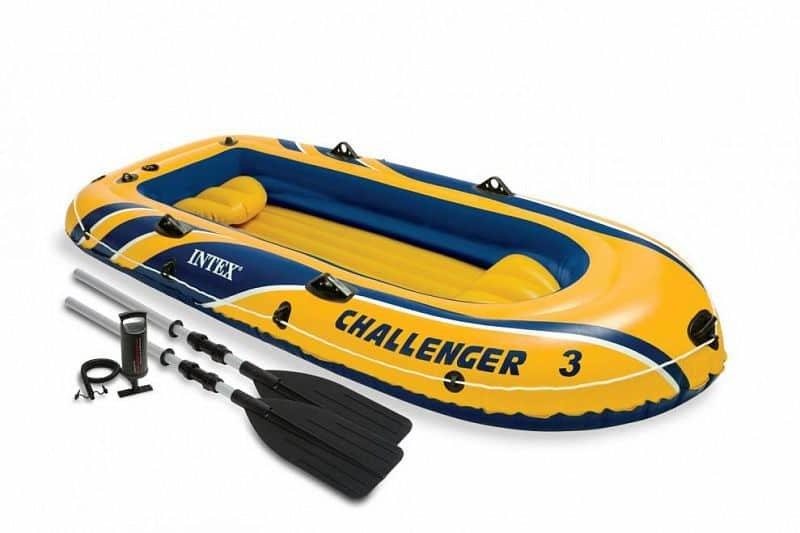 Žlutý nafukovací člun s nafukovacím dnem pro 3 osoby INTEX