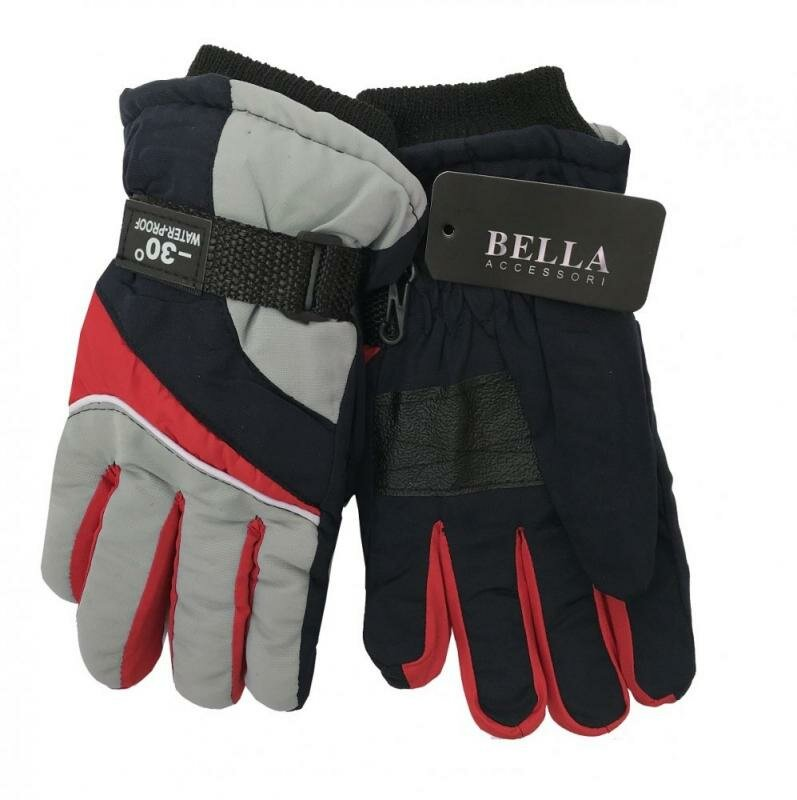 Červeno-šedé dětské lyžařské rukavice