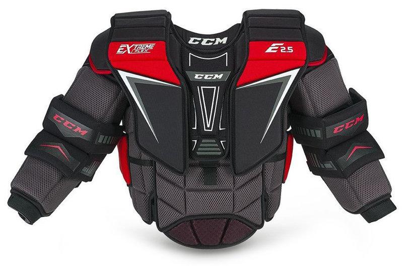 Černo-červená brankářská hokejová vesta - junior EXTREME FLEX SHIELD E2.5, CCM - velikost L