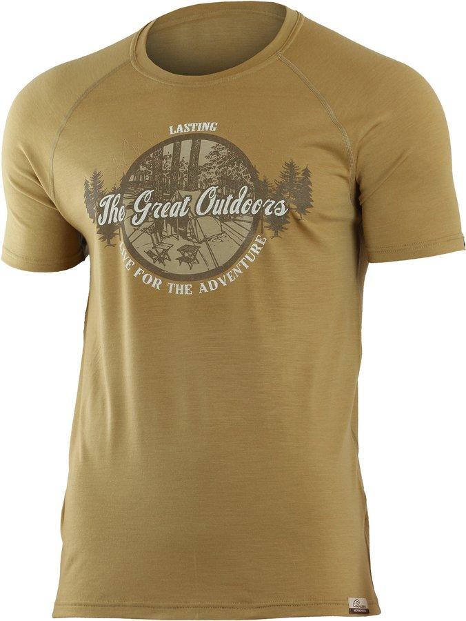 Hnědé pánské tričko s krátkým rukávem Lasting - velikost S